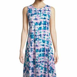 Donna Karan Tie Dye Print Jersey Midi A-Line Dress